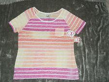 NEW ~Short Sleeve  Pocket Tee ~ Orange Stripe ~ Lightweight ~Jr  Size XL (15/17)