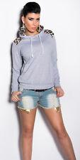 Fancy Leopard Detailed Sweatshirt Hoodie Jumper Cardigan Hooded Tops Pullover