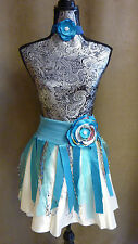 skirt belt Coachella Burning man fest pixie floral lace blue S XS beads mini