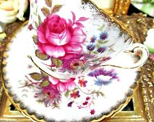 PARAGON  TEA CUP AND SAUCER FLORAL ROSES PATTERN TEACUP VERTICAL RIBBING