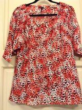 New Womens M Sheer Blouse Top Animal Print Shirt Red Black Tie Waist M/L/XL $69