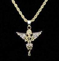 "14k Gold Plated Messenger Angel Pendant Icy Cz 24"" Rope Chain Hip Hop Necklace"