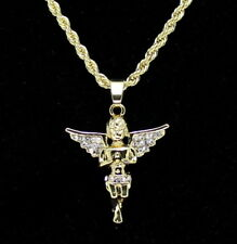 "14k Gold Plated Messenger Angel Pendant Icy Cz 20"" Rope Chain Hip Hop Necklace"
