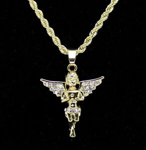 """14k Gold Plated Messenger Angel Pendant Icy Cz 24"""" Rope Chain Hip Hop Necklace"""