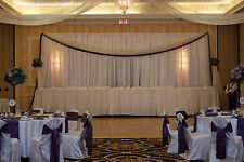 "VOILE CHIFFON SHEER WEDDING CURTAIN 9ft DRAPE PANEL BACKDROP 120"" x 108"" WHITE"