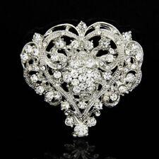 Fashion Rhinestone Heart Silver Shape Brooch Pin Wedding Bridal Party Jewelry