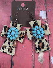 Big Western Faux Leather Hide Leopard Dangling Turquoise Flower Earrings