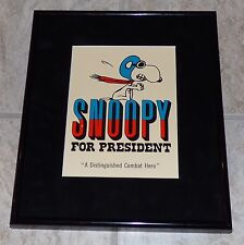 PEANUTS SNOOPY FOR PRESIDENT VINTAGE 1972 FRAMED POSTCARD WWI FLYING ACE