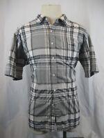 Mens Sahara Club Cotton Gray White Plaid SS Casual Shirt sz XXL/TTG