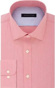 Tommy Hilfiger Mens Dress Shirt Red Size 17 Athletic Fit XL Stretch $79 #085