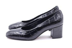 MARO TECI Luxus Pumps EUR 38 UK 5 Schwarz Voll Leder Echtleder Damenschuhe