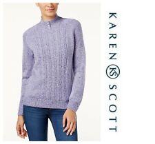 02aaf78827 Karen Scott Soft Cable Knit Mock Neck Marled Sweater Pullover Sz PL