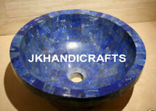 "15"" Blue Marble Counter-top Washbasin Lapis Lazuli Random Sink Bathroom Art"