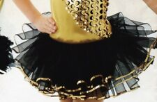 NWT DANCE COSTUME small Child Pageant  Black organdy tutu w/ gold sequin edge