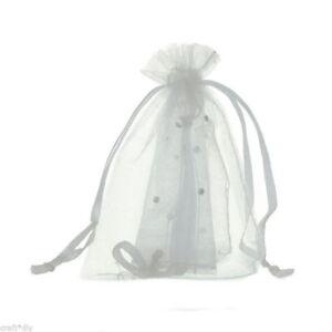 Pochettes Sachets Cadeaux Organza - 7x9 cm - Blanc Pailleté - Neuf