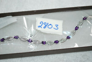 MADE IN CHINA TENNIS BRACELET AND EARRING SET MARKED CN PURPLE