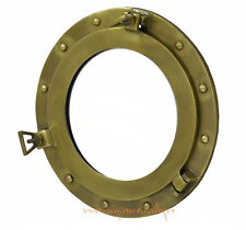 "Aluminum Porthole Brass Antique Finish Window Ship Porthol 17"" Round Wall Mirror"