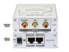 Composite Digital Analog Audio Transmitter Splitter Extender via 2 CAT5 SB-6235T