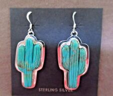 Navajo Sterling & Turquoise Cactus Hook Earrings by House & Johnson JE0396
