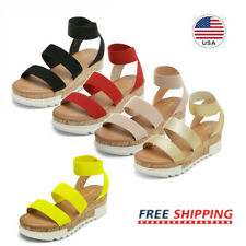 Womens Platform Wedge Sandals Elastic Ankle Strap Open Toe Flatform Casual Shoes