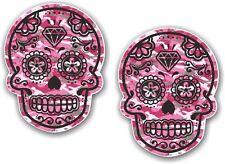 2 pezzi 70X55MM Messicano Day of the Dead Sugar Skull Rosa Mimetico adesivo auto
