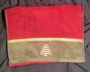 """SANTENS CHRISTMAS FINGER TOWEL Happy Little Trees 11""""x18"""" New Gold Embroidered"""