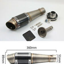 Universal 51mm Motorcycle Carbon Fiber Exhaust Muffler Pipe Silencer For Scooter