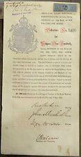 India 1898 debenture certificate Royal Bombay Yatch Club Ӝ