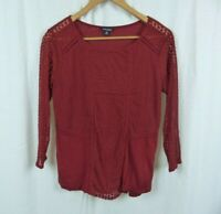 Lucky Brand Red 3/4 Sleeve Shirt Lace Detail Sheer Sleeves Cotton Blend Medium