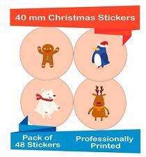 48-Pack 40 mm Misti presenti le etichette di tenuta Natale Decorazione Adesivi ch07