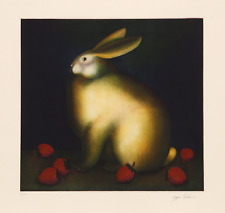 Igor Galanin, Rabbit with Strawberries (White), Aquatint Etching, Signed and num