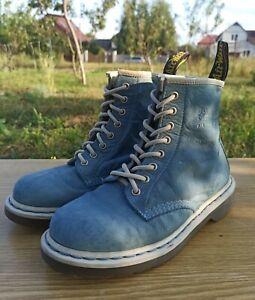 Dr Martens 1460 Women 6 UK 8 US Blue Sky Nubuck Leather 8 eye Boots White edge