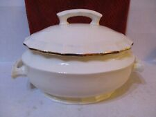 Large  Antique Ivory Oval Soup Tureen with gold trim no markings