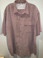 The North Face Mens XXL Red Plaid Modal Short Sleeve Button Down Shirt