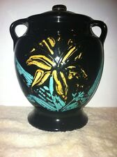 Vintage Cookie Jar Black with Double Handles & Marked USA
