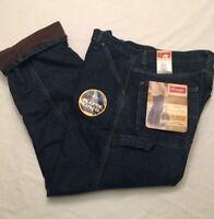 NWT MEN'S Wrangler Fleece Lined Carpenter Loose Fit Blue Jeans 94GRWST NEW