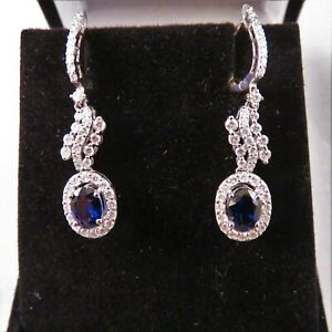 Gorgeous Sapphire and Diamond 18KT White Gold Earrings 3.15 TCW