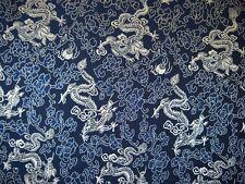 Seidenstoff Drachenmuster blau / silber 115 cm breit Meterware