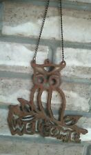 Vintage Owl welcome sign cast iron great patina original chain garden Large