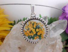 Edelstahl Halsreif + Glas Cabochon Anhänger Amulett - Blumen Rosen gelb