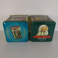 Lot of 2 Red Man Chewing Tobacco Limited Edition Tin 1989 & 1990