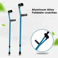 Height Adults Foldable Heavy Duty Walking Forearm Crutches Aluminum Alloy Stick