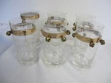 VINTAGE BEVERAGE BAR GLASSES (6)  RING FOR A  DRINK WITH BELLS STARS ATOMIC