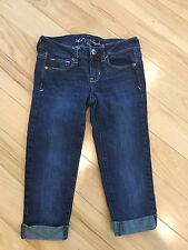 American Eagle Denim Jeans Capris 4 Long Skinny Kick Stretch ladies juniors