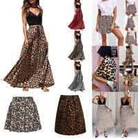 AU Women's Midi Skirt Leopard Print High Waist Cocktail Club Bodycon Dress Party