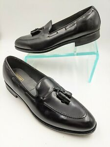 E.T. Wright 12 A Narrow Mens Shoes Black Leather Premium Tassel Loafer New