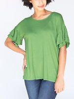 Agnes and Dora Vibrant Green Ruffle Sleeve Tunic Womens sz Large NWT