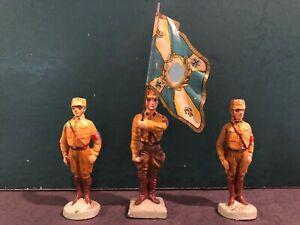 Elastolin: RARE German Soldiers & Flag, c1940. Pre War. 7cm Scale