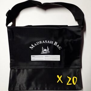 20X CHILDREN'S MADRASAH BAG   SMALL SIZE   WITH STRAP   BLACK   MOSQUE