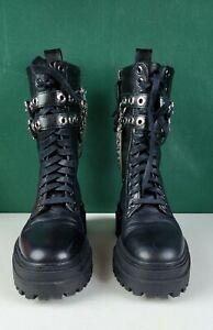 Zara Combat Boots - Black, Silver Chain/Metalwork